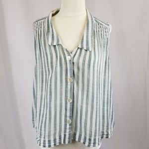 Holding Horses striped sleeveless button up